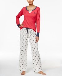 Tommy Hilfiger 3 Piece Holiday Pajama Gift Set Red Top Ivory Pant Plaid Short