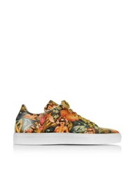Cesare Paciotti Pin Up Printed Leather Low Top Men's Sneaker Pink