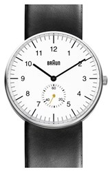 Men's Braun 'Classic' Leather Strap Watch 38Mm Black White Silver