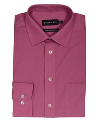 Double Two Men's King Size Long Sleeve Non Iron Poplin Shirt Rose