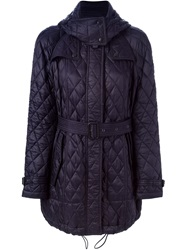 Burberry Brit Hooded Quilted Coat Blue