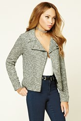 Forever 21 Marled Knit Moto Jacket Charcoal