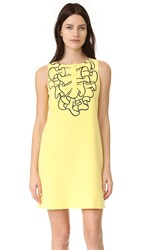 Boutique Moschino Sleeveless Dress Fantasy Print Yellow