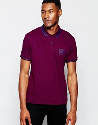 Dkny Pique Polo Shirt Rubber Print Logo Purple