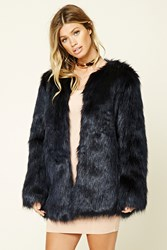 Forever 21 Faux Fur Jacket Dark Blue