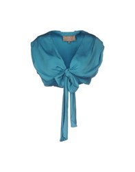Space Style Concept Knitwear Wrap Cardigans Women Turquoise