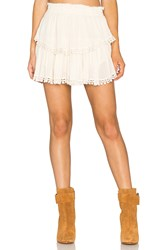 Loveshackfancy Ruffle Mini Skirt Beige