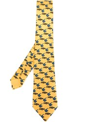 Herma S Vintage Fish Patterned Tie Yellow And Orange