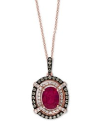 Effy Collection Rosa By Effy Ruby 1 1 2 Ct. T.W. And Diamond 3 10 Ct. T.W. Pendant Necklace In 14K Rose Gold Red