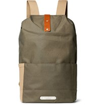 Brooks England Dalston Leather Trimmed Canvas Backpack Army Green
