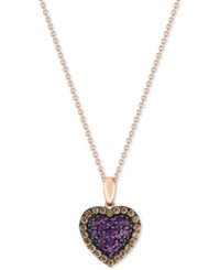 Le Vian Chocolatier Amethyst 1 4 Ct. T.W. And Diamond 1 5 Ct. T.W. Pave Heart Pendant Necklace In 14K Rose Gold