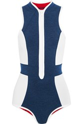 Duskii Monte Carlo Paneled Neoprene Swimsuit Navy