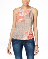 Inc International Concepts Sequin Embellished Halter Top Only At Macy's Taupe Coral