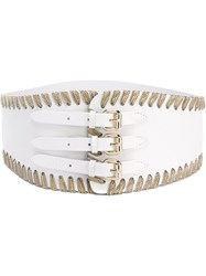 Orciani Triple Buckle Wide Belt White