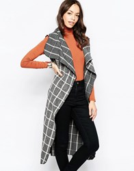 Mela Loves London Sleeveless Checked Gilet Grey