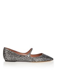 Tabitha Simmons Hermione Point Toe Glitter Flats Silver