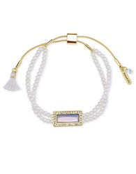 Lonna And Lilly Cubic Zirconia Faux Pearl Two Row Slider Necklace White