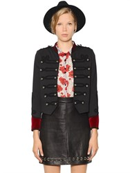 The Kooples Cotton And Velvet Military Jacket