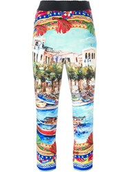 Dolce And Gabbana Postcard Print Cropped Trousers Multicolour