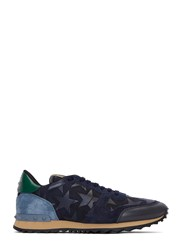 Valentino Star Applique Contrast Panel Stud Sneakers Navy