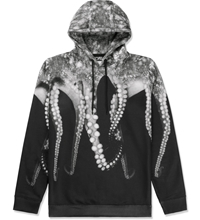 Octopus Black Poly Hooded Sweater