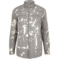 River Island Mens Grey Bleach Splattered Denim Shirt
