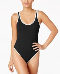 Kenneth Cole Reaction On The Edge High Cut One Piece Swimsuit Women's Swimsuit Black