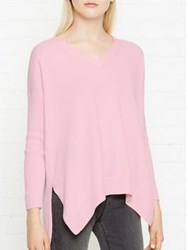 Cocoa Cashmere Relaxed Dipped Hem V Neck Jumper Pale Pink Nude