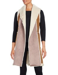 French Connection Color Blocked Faux Shearling Long Vest Natural