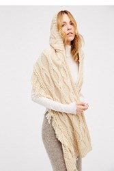 Free People Womens Cable Fringe Hooded Scarf