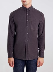 Topman Burgundy Brushed Twill Long Sleeve Casual Shirt Red