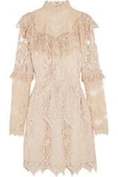 Anna Sui Romantique Ruffled Crochet Lace Mini Dress Cream