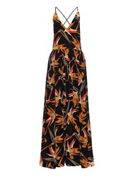 Fendi Birds Of Paradise Print Silk Georgette Maxi Dress