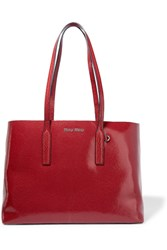 Miu Miu Cracked Glossed Leather Tote Red