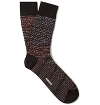 Missoni Crochet Knit Degrade Wool Blend Socks Burgundy