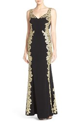 Women's Betsy And Adam Embroidered Applique Jersey Gown
