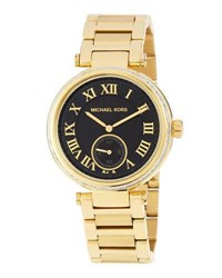 Michael Kors Golden Plated Stainless Steel Two Hand Rhinestone Watch W Black Dial