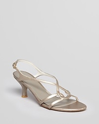 Stuart Weitzman Evening Sandals Reversal Mid Heel Gold Kid
