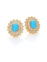 Kenneth Jay Lane Crystal And Resin Oval Clip On Stud Earrings Blue