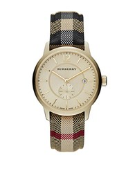 Burberry Ladies Goldtone Stainless Steel Jacquard Strap Watch