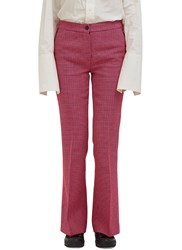 Yang Li Flared Houndstooth Check Pants Pink