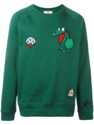 Andrea Pompilio Embroidered Cartoons Sweatshirt Green