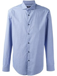 Hugo Boss Printed Long Sleeve Shirt Blue