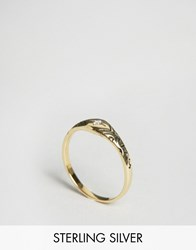 Asos Gold Plated Sterling Silver Crystal Etched Ring Gold Plated