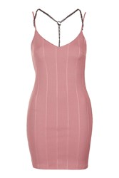 Topshop Plunge Chain Strap Bandage Dress Dusty Pink
