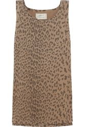 Current Elliott The Muscle Leopard Print Cotton Jersey Tank