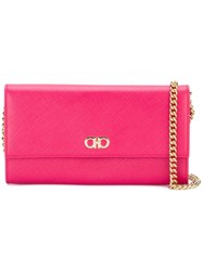 Salvatore Ferragamo Gancio Flap Chain Wallet Pink And Purple