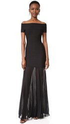 Herve Leger Breanna Off Shoulder Gown Black