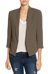 Mural Women's 'Curve' Open Front Shawl Collar Blazer Olive