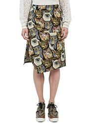Stella Mccartney A Line Cat Embroidered Skirt Brown